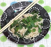 Noodles with spinach Stock Photo