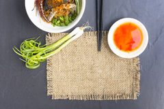 Noodles in Thailand Beef noodle on black table.Close up and top view. 1 Stock Images