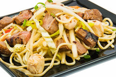 Noodles and three kinds of meat royalty free stock images