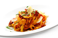 Noodles with tomato sauce Royalty Free Stock Photo