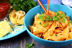 Noodles with tomato sauce and minced meat Stock Image