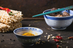 Noodles and tumeric Royalty Free Stock Photography