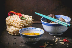 Noodles and tumeric Stock Images