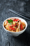 Noodles with vegetables, chicken and pineapple Stock Image