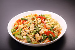 Noodles with vegetables and chicken. Noodles with vegetables and roasted chicken Royalty Free Stock Photos