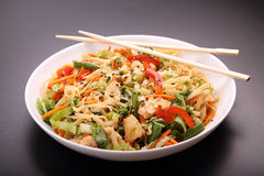 Noodles with vegetables and chicken. Noodles with vegetables and roasted chicken Royalty Free Stock Image