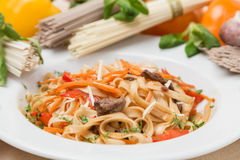 Noodles with vegetables and garnish on white plate Royalty Free Stock Photos