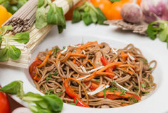Noodles with vegetables and garnish on white plate Stock Photography
