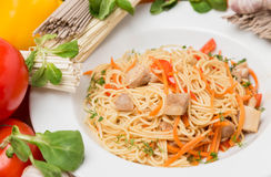 Noodles with vegetables and garnish on white plate Stock Images