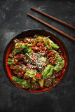 Noodles with vegetables and meat stock photos