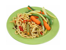 Noodles Vegetables on Plate Stock Images