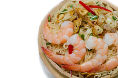 Noodles with vegetables and prawn Royalty Free Stock Photography