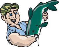 Noodling / Hillbilly Fishing. Illustration of a man catching a catfish with his arm Stock Photography