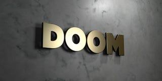 Noodlot - Gouden teken opgezet op glanzende marmeren muur - 3D teruggegeven royalty vrije voorraadillustratie royalty-vrije illustratie