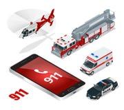 noodsituatieconcept Ziekenwagen, Politie, Brandvrachtwagen, ladingsvrachtwagen, helikopter, alarmnummer 911 Vlakke 3d isometrisch Royalty-vrije Stock Foto's