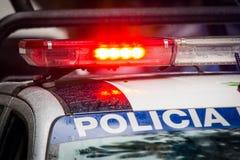 Noodsituatiepolitiewagen stock foto