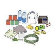 Noodsituatieuitrustingen stock illustratie