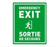 Nooduitgangteken in het Engels en het Frans - Sortie DE Secours - Voor het drukken geschikt Tweetalig Veiligheidsteken royalty-vrije illustratie
