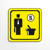 Noodzakelijke aankopen Het pictogram van toestellen Zwart-wit voorwerp op een gele achtergrond stock illustratie