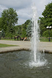Nook of urban public garden with a fountain and horses in the ba. Ckground in Kharkov stock images