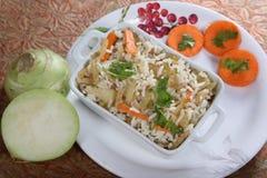Nookol Fried Rice, Kohlrabi Fried Rice, Ganth Gobhi Fried Rice royalty free stock photos
