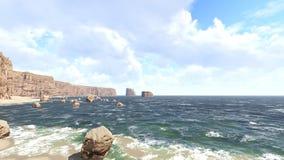 Noon with breaking ocean wavessunset with breaking ocean waves 3D rendering Royalty Free Stock Images