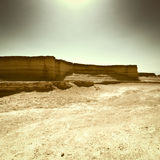 At Noon. Canyon in the Judean Desert at Noon, Vintage Style Toned Picture stock photography