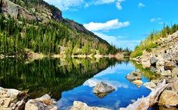 Noon lake reflection Royalty Free Stock Image