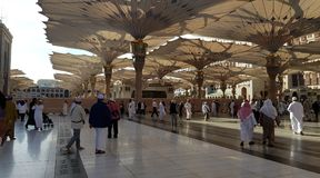 Noon in madinah united Arab Emirates. Muslim holy mosque Stock Image