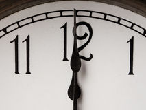 Noon time. Noon, twelve o'clock on vintage clock Stock Photography