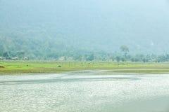 Noong湖和村庄 库存图片
