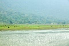 Noong湖和村庄 库存照片