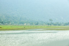 Noong lake and village Stock Images
