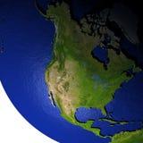 Noord-Amerika bij nacht op model van Aarde met in reliëf gemaakt land Royalty-vrije Stock Foto's