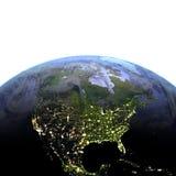 Noord-Amerika bij nacht op realistisch model van Aarde Royalty-vrije Stock Afbeelding