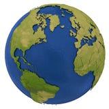 Noord-Amerika en Europees continent ter wereld Stock Afbeelding