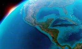 Noord-Amerika met inbegrip van Mexico, Costa Rica, Cuba, de Bahamas, sommige delen van de V.S. etc. vector illustratie