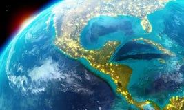Noord-Amerika met inbegrip van Mexico, Costa Rica, Cuba, de Bahamas, sommige delen van de V.S. etc. samen met stadslichten Stock Foto's