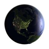 Noord-Amerika ter wereld bij nacht op wit wordt geïsoleerd dat Royalty-vrije Stock Afbeeldingen