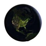 Noord-Amerika ter wereld bij nacht op wit wordt geïsoleerd dat Royalty-vrije Stock Foto