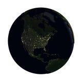 Noord-Amerika ter wereld bij nacht op wit wordt geïsoleerd dat Stock Foto's