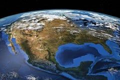 Noord-Amerika van Ruimte stock afbeeldingen