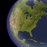 Noord-Amerika van ruimte, in de schaduw gestelde hulpkaart. Royalty-vrije Stock Afbeelding