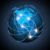 Noord-Amerikaan en Zuid-Amerika op bol wordt verbonden die stock illustratie
