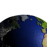 Noord-Atlantische Oceaan op model van Aarde met in reliëf gemaakt land Stock Afbeeldingen
