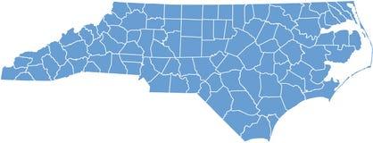 Noord-Carolina kaart door provincies Stock Foto