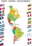 Noord- Centraal Zuid-Amerika. Stock Foto