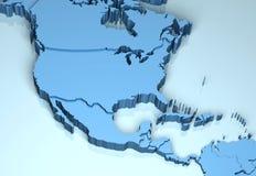 Noord- 3D Midden-Amerika Royalty-vrije Stock Afbeeldingen