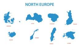 Noord-Europa - kaarten van gebieden stock illustratie