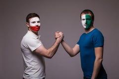 Noord-Ierland versus de vriendschappelijke handdruk van Polen vóór spel Stock Fotografie